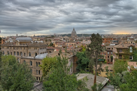 Panoramic view of Rome from Pincio Promenade, St Peter Square on background