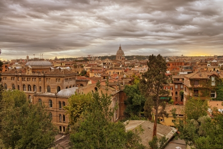 Panoramic view of Rome from Pincio Promenade, St Peter Square on background  Stock Photo - 17003625
