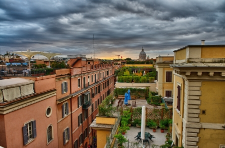 Panoramic view of Rome from Pincio Promenade, St Peter Square on background  Stock Photo - 17003682