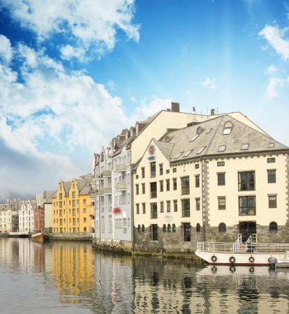 alesund: Small harbor in downtown of Alesund, Norway Stock Photo