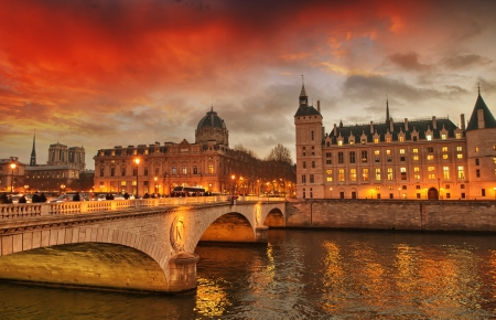 Beautiful colors of Napoleon Bridge at dusk with Seine river - Paris. Stock Photo - 17169729