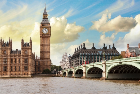 westminster bridge: The Big Ben, the Houses of Parliament and Westminster Bridge in London.