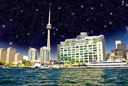 Beautiful night skyline of Toronto from Lake Ontario - Canada. Stock Photo - 17120438