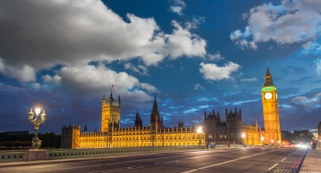 Sunset sky over Big Ben and House of Parliament from Westminster Bridge - London photo