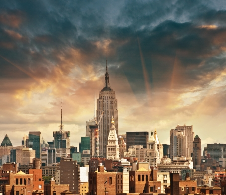 Wonderful view of Manhattan Skyscrapers with beautiful sky colors - New York City.
