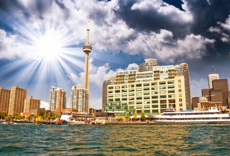 Beautiful skyline of Toronto from Lake Ontario - Canada. Stock Photo - 17120463