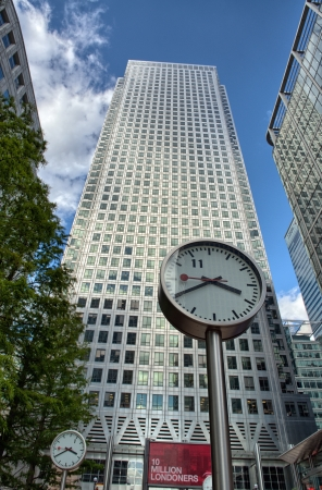 Canary Wharf financial district buildings in London - UK Stock Photo - 17298712