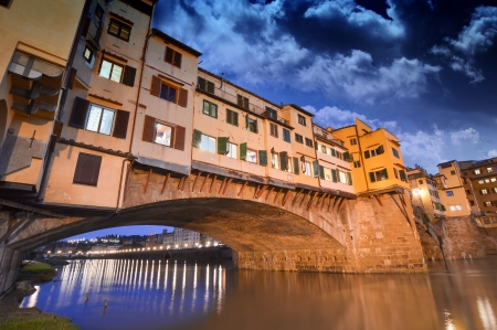 Gorgeous view of Old Bridge, Ponte Vecchio in Florence at sunset. Stock Photo - 17482618