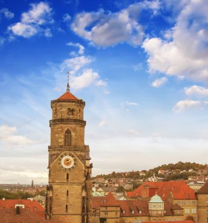 stuttgart: Wonderful sky colors above Stuttgart skyline, Germany