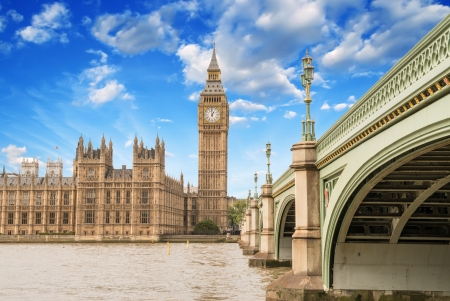 Landscape of Big Ben and Palace of Westminster with Bridge and Thames - London. Stock Photo