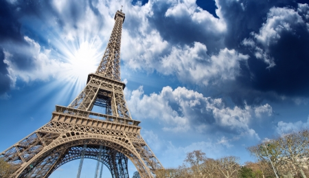 built tower: Beautiful view of Eiffel Tower in Paris.