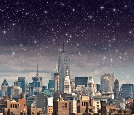 Wonderful view of Manhattan Skyscrapers with beautiful night sky - New York City. Stock Photo - 17629493