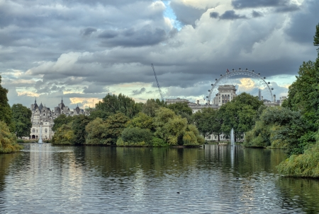 Buckingham Palace and gardens in London in a overcast autumn day - UK