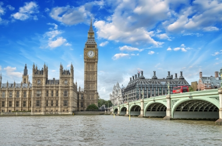 european parliament: London. Beautiful view of Westminster Bridge and Houses of Parliament with Thames river. Stock Photo