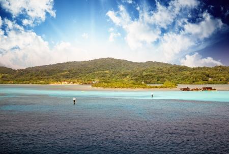 grenadines: Landscape of a Caribbean Island, Honduras Stock Photo