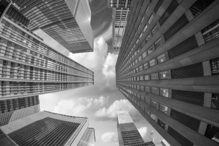 sixth: City Skyscrapers, Fisheye Upward Street View