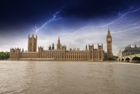 palace of westminster: Houses of Parliament, Westminster Palace with Storm - London gothic architecture.