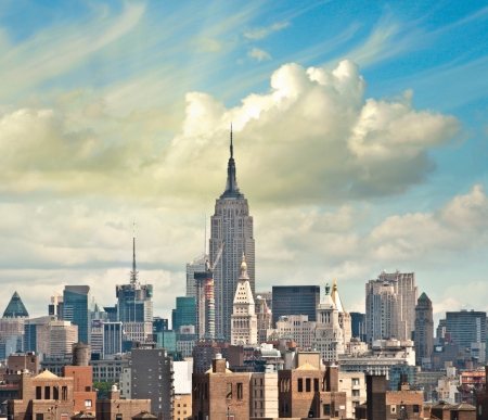Wonderful view of Manhattan Skyscrapers with beautiful sky colors - New York City. Stock Photo - 17763137