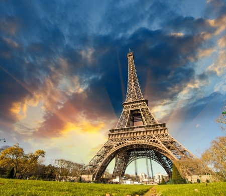 paris at night: Wonderful view of Eiffel Tower in Paris  La Tour Eiffel with sky and meadows