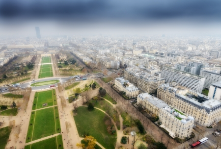 Great aerial view of Eiffel Tower surroundings - Paris  photo