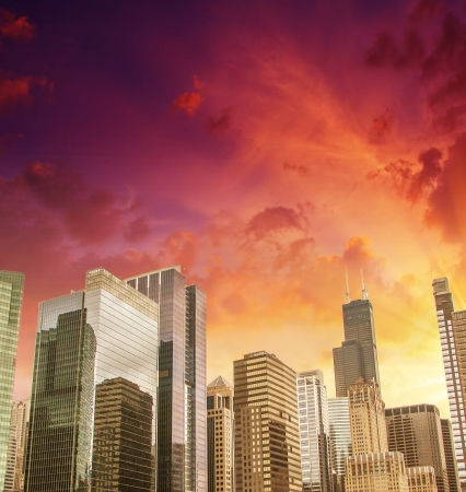 american midwest: Beautiful skyline of Chicago Buildings and Skyscrapers, Illinois