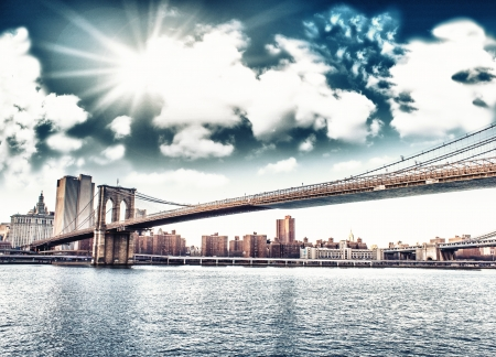Amazing New York Cityscape - Skyscrapers and Brooklyn Bridge at sunset - USA Stock Photo - 17923659