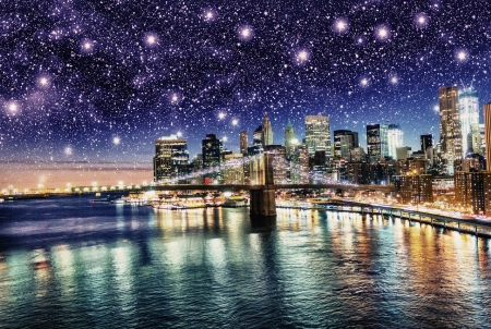 Amazing night in New York City - Stars above Skyscrapers - U S A Stock Photo - 17923856