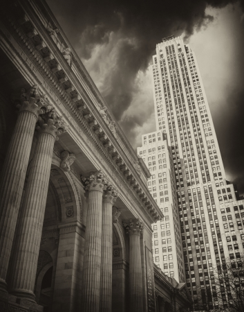 u s a: New York City public library, black and white view, U S A