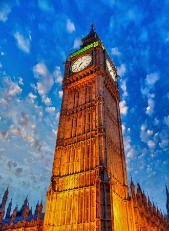 The Big Ben with wonderful sky colors - London  photo