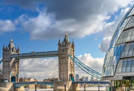 Beautiful view of Tower Bridge with surrounding Buildings - London. photo