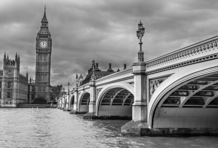 London. Wonderful view of Westminster bridge with Big Ben and Houses of Parliament.