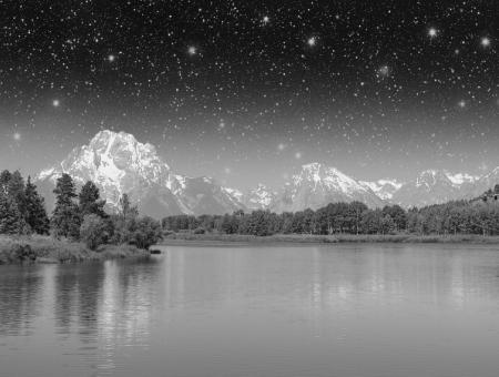 Beautiful Lake and Mountains of Grand Teton National Park. photo