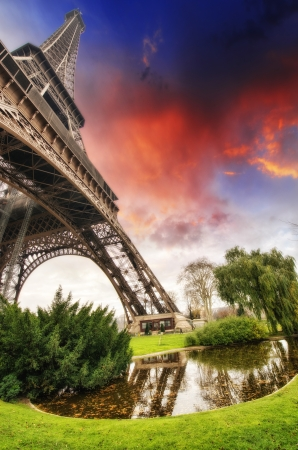 magnificence: Beautiful sunset colors of Eiffel Tower with its magnificence - Paris.