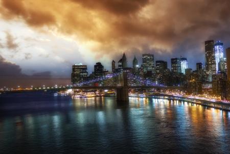 New York City  Wonderful sunset view of Brooklyn Bridge and Manhattan Skyline - USA Stock Photo - 18225207