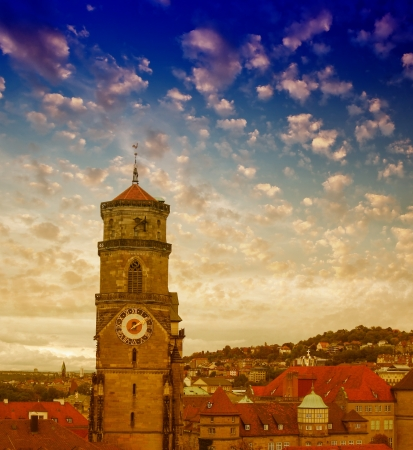 Wonderful sky colors above Stuttgart skyline, Germany. photo