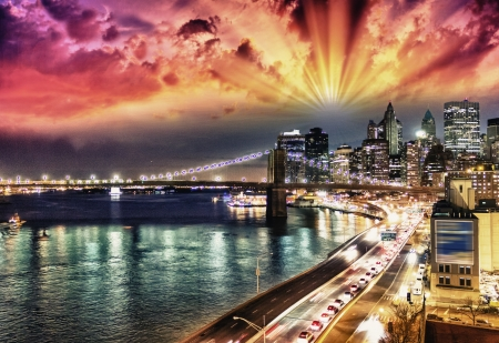 Wonderful sunset colors in New York City photo