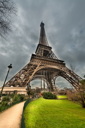 magnificence: Magnificence of Eiffel Tower, view of powerful landmark structure, Paris - France