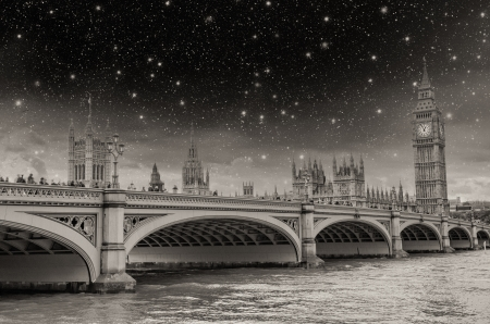 the palace of westminster: London, UK - Stars above Palace of Westminster (Houses of Parliament) with Big Ben clock tower and Westminster bridge over Thames river.