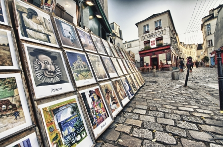 PARIS - DEC 2  Tourists in the beautiful streets of Montmartre, December 2, 2012 in Paris  More than 40 million people visit the city every year
