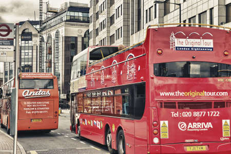 LONDON - SEP 30  Red Double Decker Bus on City Streets, September 30, 2012 in London, UK  The doubledecker bus is one of the most iconic symbol of London  Stock Photo - 18646679