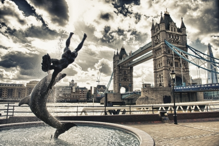 Beautiful view of Magnificent Tower Bridge in London  photo