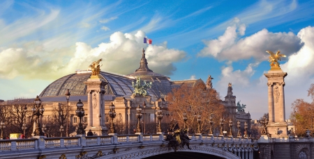 palais: Beautiful Sky Shapes over The Grand Palais des Champs-Elys&Atilde,&copy,es - Great Palace in Paris.