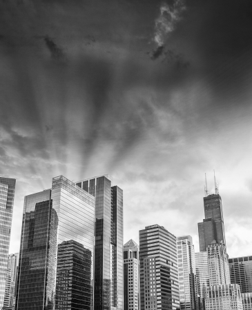Beautiful view of Chicago Skyline with dramatic sky  Stock Photo - 18788515