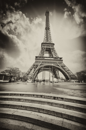 black and white: Paris. Eiffel Tower with Stairs to Seine River. Black and White view.