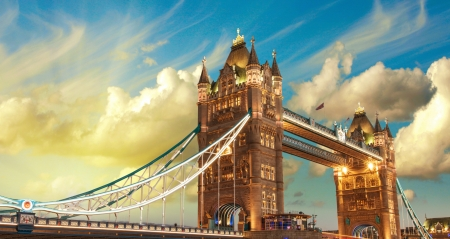 travel features: London, The Tower Bridge lights show at sunset.