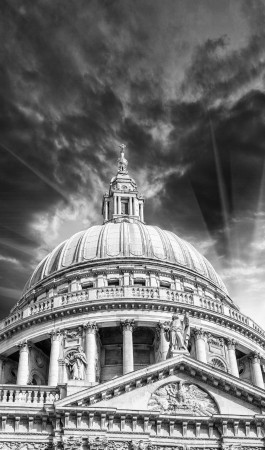 Wonderful sky colors over St Paul Cathedral - London. photo