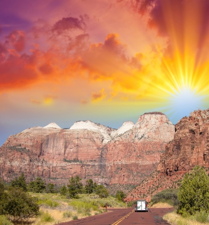Zion Park, USA. Beautiful colors and typical red street. photo