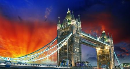 London, The Tower Bridge lights show at sunset. Stock Photo - 19022845