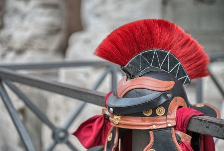 Centurion Helmet in the streets of Rome. photo