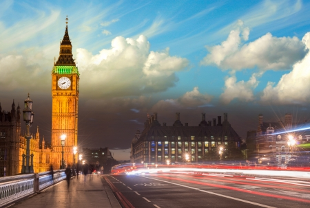 gothic architecture: Beautiful colors of Big Ben from Westminster Bridge at Sunset - London  Stock Photo